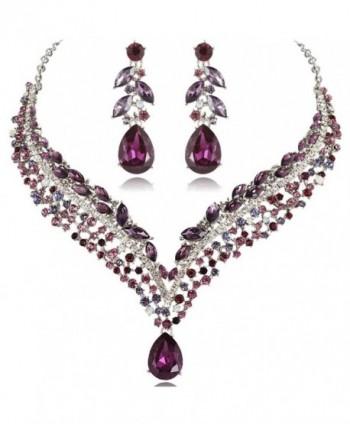 EVER FAITH Women's Austrian Crystal Decorative Leaf Teardrop Necklace Earrings Set - Purple Silver-Tone - CK11KKCI5I9