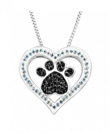 "Crystaluxe Paw & Heart Pendant with Swarovski Crystals in Sterling Silver-Plated Brass- 18"" - CO12E3U0LRB"