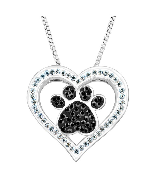 """Crystaluxe Paw & Heart Pendant with Swarovski Crystals in Sterling Silver-Plated Brass- 18"""" - CO12E3U0LRB"""
