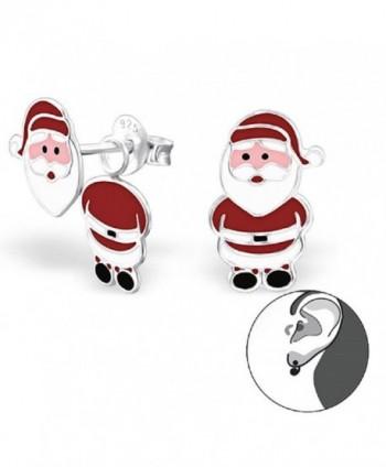 925 Sterling Silver Santa Claus Ear Studs 24675 - CC12ITEL1IZ