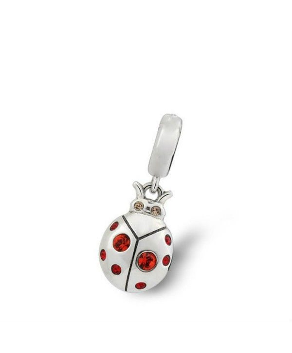 Ladybug Red Swarovski Crystal 925 Sterling Silver Bead Fit Pandora Charms - C7124OTUDJR