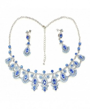 Faship Necklace Earrings Set Sapphire Color Blue Floral - C211TUH9YMV