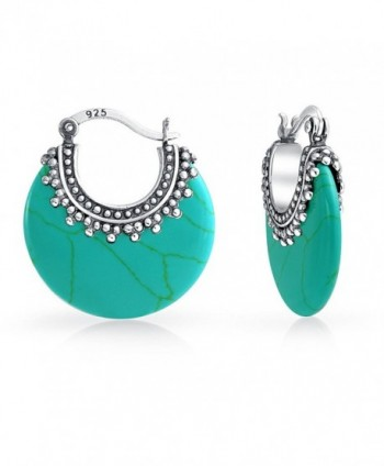 Bling Jewelry .925 Silver Bali Style Synthetic Turquoise Hoop Earrings - CA17YHAA6GQ