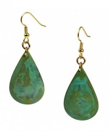 Green Patinated Copper Tear Drop Earrings By John S Brana Handmade Jewelry Durable Copper Earrings - CV12O651R61