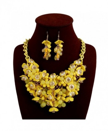 Kexuan Fashion Floral Statement Necklace Choker Necklace And Jewelry Sets For Ladies - yellow-earrings - CP185W4W9MX