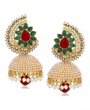 Royal Bling Bollywood Style Stylish Traditional Indian Jewelry Jhumki Jhumka Earrings for Women - C312MXQXY9B
