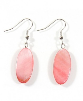 Coral Island Breeze Bright Coral Color Mother-of-pearl Earrings 1.5 Inches Total - C9184C0A555