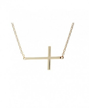 apop nyc Goldtone 925 Silver Sideways Cross Necklace 16 inch - 17 inch [Jewelry] (Goldtone-silver) - C61189QU7NT