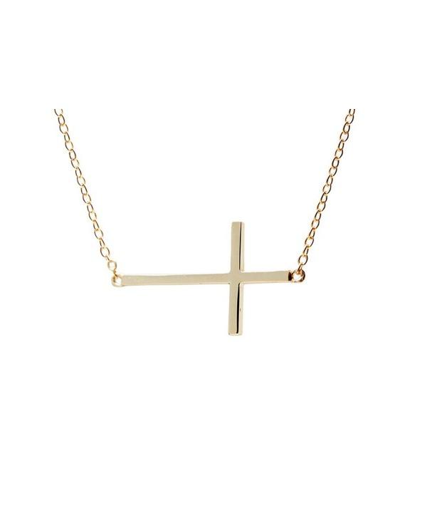 apop nyc Goldtone 925 Silver Sideways Cross Necklace 16 inch - 17 inch [Jewelry] (Goldtone-silver) - C61189QU7NT