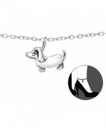 """Best Wing Jewelry .925 Sterling Silver """"Tiny Dog"""" Anklet Bracelet (Adjustable) - CI1887HHX7E"""