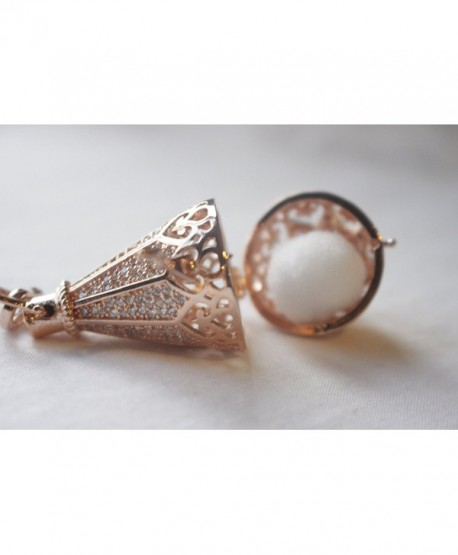 Blessings Rose Gold with Cubic Zirconia Oil Drop Tear Drop Aromatherapy Diffusing Locket - C412CVTVHG5