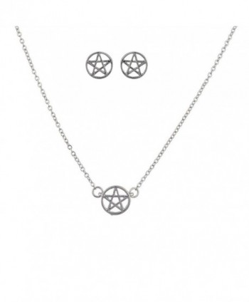 Lux Accessories Silvertone Pentagram Necklace set - C412EXTIK2P