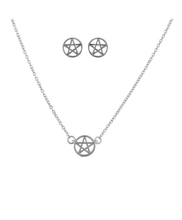 Lux Accessories Silvertone Pentagram Necklace set - C412EXTIK2P