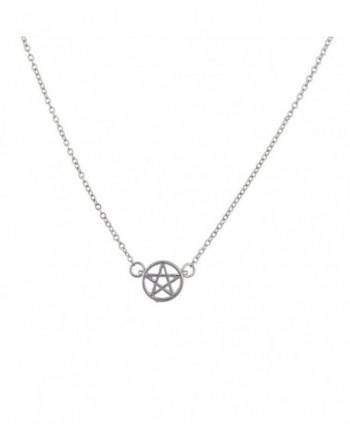 Lux Accessories Silvertone Pentagram Necklace