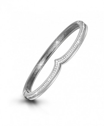 "LadyColour ""Tresor"" Rhodium Plated Crown Bangle Bracelets 7"" Push-Button Closure- Crystals from Swarovski - CI12CEH3ELP"