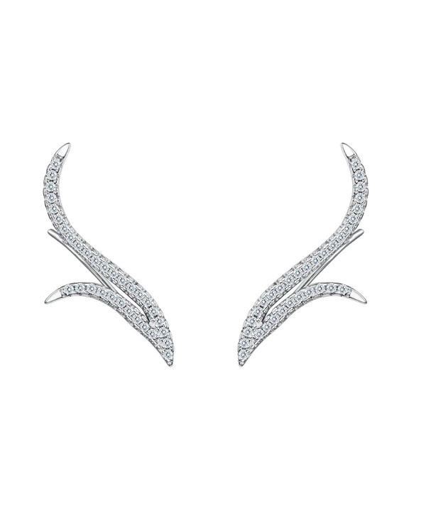 BriLove Women 925 Sterling Silver Wedding Round CZ Curved Floral Ear Vine Sweep Crawler Post Earrings Clear - CS182MUSHN9