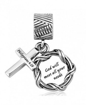 LilyJewelry Bible Dangle Charm Christian Keep Faith Cross Beads For Bracelets - CK186QCEGIZ
