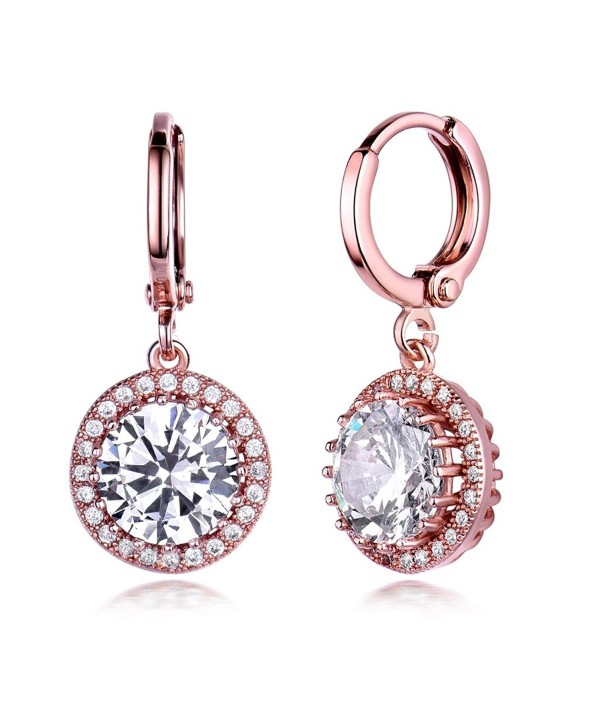GULICX Women's Rose Gold Electroplated Zircon Vintage Style Round Hoop Earrings Dangle Leverback - CT17WYYTHM7