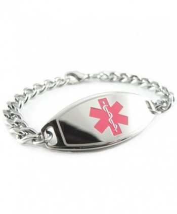 MyIDDr - Pre-Engraved & Customized Dementia Medical Bracelet- Wallet Card Incld- Red - CV11CMUBH4L