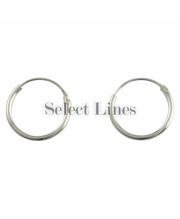 Sterling Silver 12mm Endless Hoop Earrings Round Genuine Solid .925 Jewelry - C611GNDN2MD
