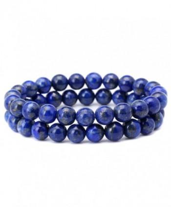 8mm Afghanistan Lapis Lazuli Bracelet Blue Stone Beads Stretchy Strand Bracelets - CQ121GDK6NR