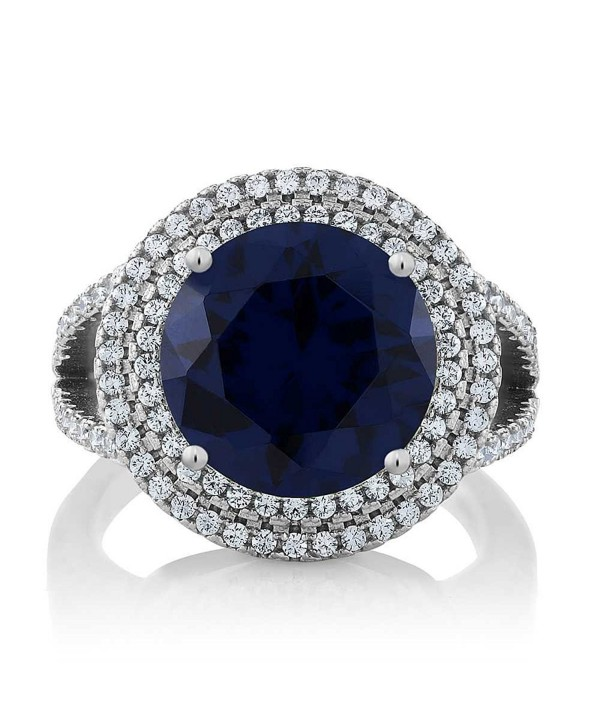 Gem Stone King 7.56 Ct Round Blue Simulated Sapphire 925 Sterling Silver Ring - CC11PNC6907