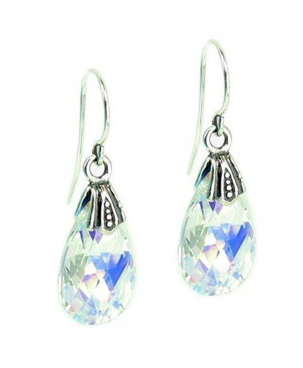 Queenberry Aurora Borealis Swarovski Elements Teardrop Crystal Sterling Silver Dangle Earrings - CH115UQGQ2R