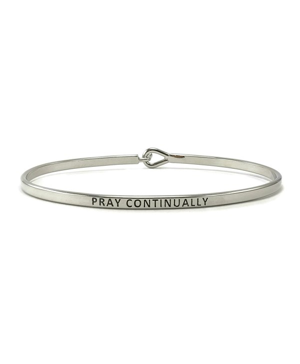 Pray Continually Inspirational Hook Bangle Bracelet - Rhodium - CT182TD8SO8