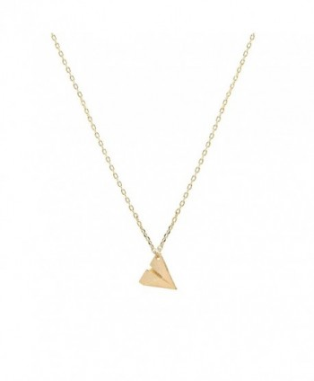 chelseachicNYC Handmade Tiny Jewel Brushed Metal Paper Plane Necklace - CI128982XLF