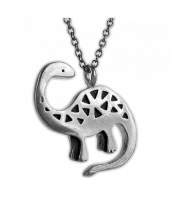 "Mark Poulin Women's Pewter Necklace Brontosaurus Dinosaur 18"" Chain - CF11Q2B50XF"