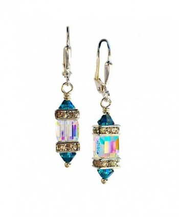 HisJewelsCreations Clear Square Cube and Blue Crystal Rhinestone Squardelle Earrings - C612E4ZJGS5