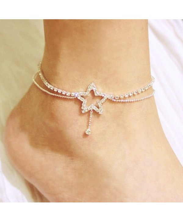 Bridal Sexy Crystal Star Shape w/Dangling Double Chains Fashion Design Anklet - CU116FHY0D7
