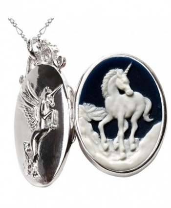 Unicorn Lucky Necklace Photo Folder Pendant Pegasus Locket Jewelry 2pc Chain Pouch for Gift - CF125Q4Z9Q1