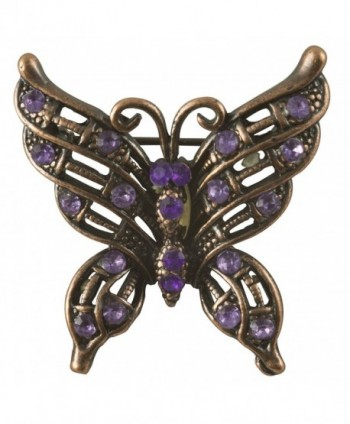 Petite Victorian Butterfly Brooch in Antique Copper Finish with Purple Stones - CA117ICJ7Z9