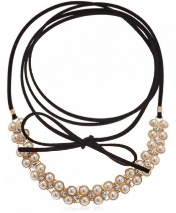 GUESS Womens Wrap Look Pearl Tie Choker Necklace - Gold - CN185LIAT24