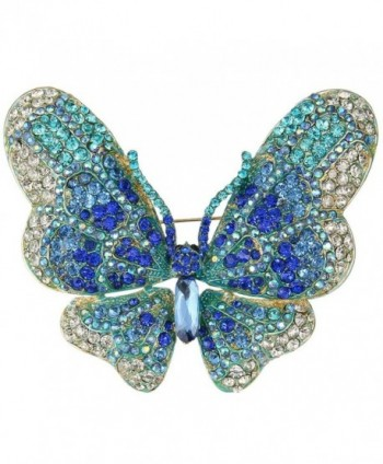 EVER FAITH Women's Austrian Crystal Butterfly Brooch - Blue Gold-Tone - CS11W0I64KR