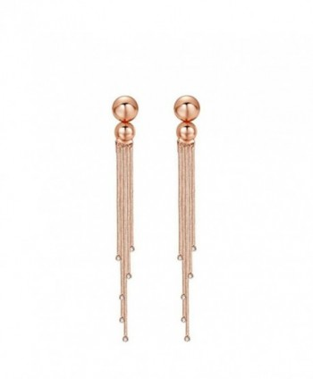 "Carfeny Rose Gold Crystal Simple Long Tassel Wedding Earrings for Women 4.53"" - CF184XXQM7X"
