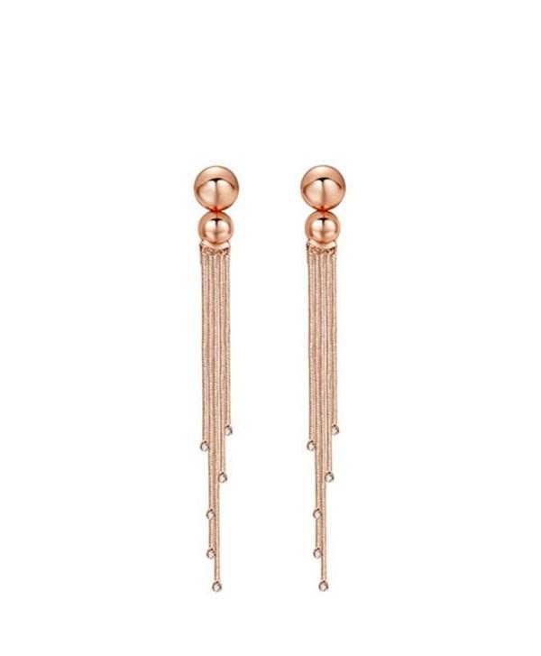 "Carfeny Rose Gold Crystal Simple Long Tassel Wedding Earrings for Women 4.53"" - CF184XXQM7X"