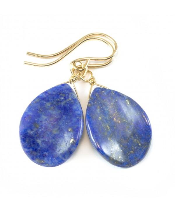 14k Gold Filled Lapis Lazuli Earrings Blue Smooth Curved Teardrop Shaped Denim - C012CPCG7FT