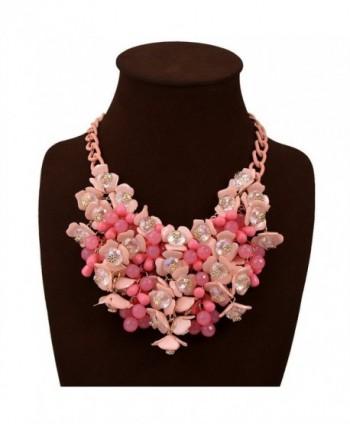 JewelryLove Bib Fashion Multicolor Flower Crystal Statement Necklaces - Pink - CJ12N1G6KWM