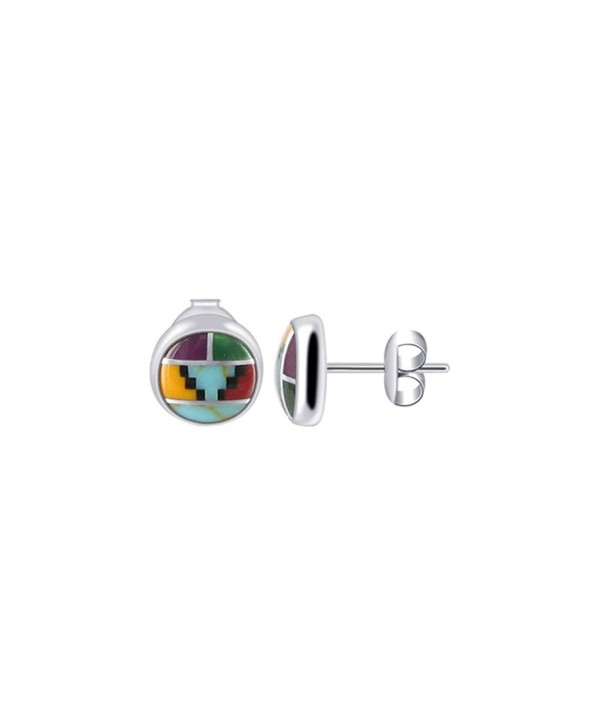 Gem Avenue 925 Sterling Silver 6mm Round Coral and Simulated Turquoise Southwestern Style Stud Earrings - CW114P9EU69