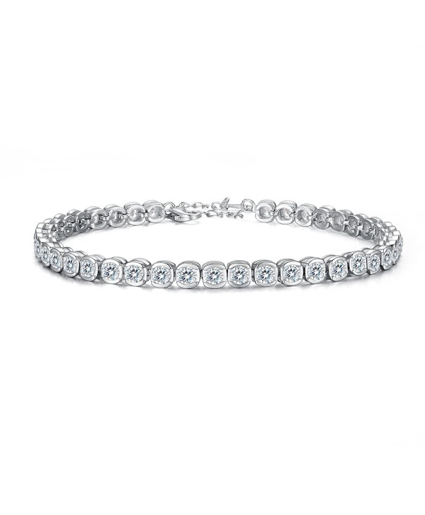 EVER FAITH 925 Sterling Silver CZ Channel-Set Round Cut Tennis Bracelet Chain Clear - CY12FIR6BDV