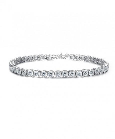 EVER FAITH 925 Sterling Silver CZ Channel-Set Round Cut Tennis Bracelet Chain Clear - CY12FIR6BDV