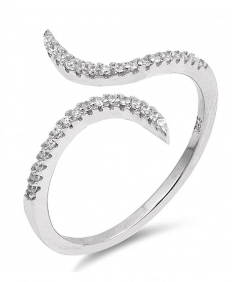 Open White CZ Criss Cross Adjustable Ring .925 Sterling Silver Band Sizes 4-10 - CI1832AQSZ6