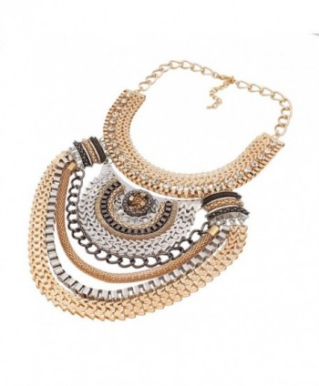 Winson Retro Multi Strand Necklace Chunky Choker Ethnic Tribal Gold Plated - As pictures - CJ11OPR835P