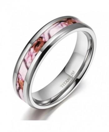Deer Antlers Pink Camouflage Titanium Wedding Rings Comfort Fit - Metal-type-6mm - CL12FG29JOB