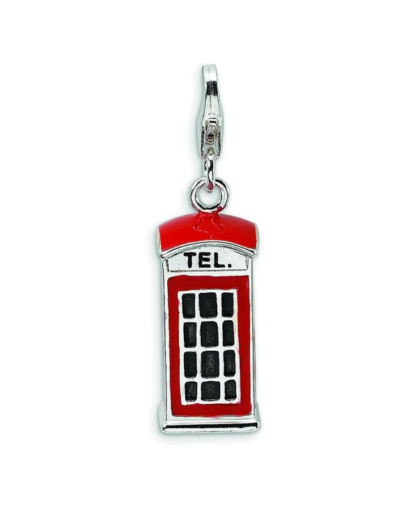 Sterling Silver Enameled Phone Booth LobSterling Clasp Charm - CJ114A3XU8D