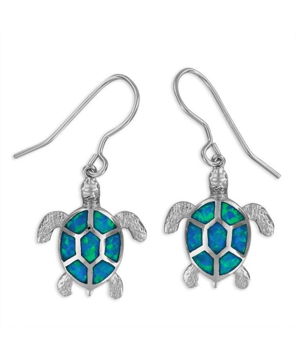 Sterling Silver Synthetic Blue Opal Turtle Dangle Earrings - C41295WJZFL