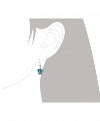 Sterling Silver Synthetic Turtle Earrings in Women's Drop & Dangle Earrings
