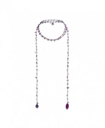 Sparkling Aura Purple Quartz-Reconstructed Black Agate Lariat Necklace - C9121E9XLNF